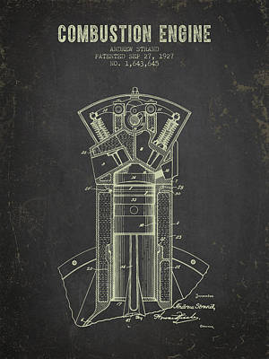 1927 Compustion Engine Patent - Dark Grunge Art Print by Aged Pixel