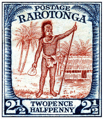 Painting - 1927 Cook Island Rarotongan Chief Stamp by Historic Image