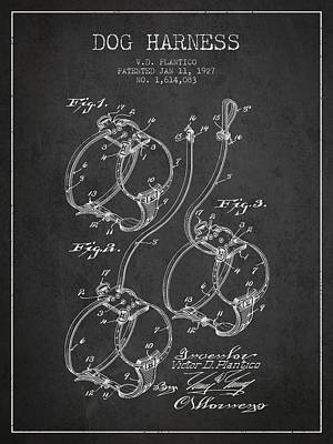 Puppies Drawing - 1927 Dog Harness Patent - Charcoal by Aged Pixel