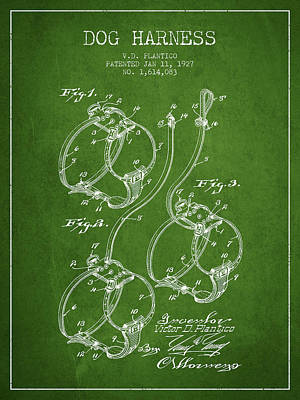 Puppies Drawing - 1927 Dog Harness Patent - Green by Aged Pixel