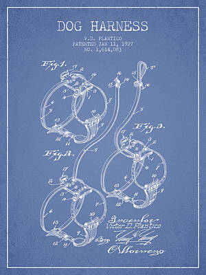 Puppies Drawing - 1927 Dog Harness Patent - Light Blue by Aged Pixel
