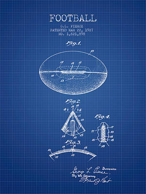 Rugby Digital Art - 1927 Football Patent - Blueprint by Aged Pixel