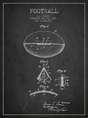 Rugby Digital Art - 1927 Football Patent - Charcoal by Aged Pixel