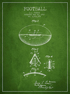 Rugby Digital Art - 1927 Football Patent - Green by Aged Pixel