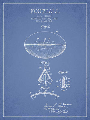 Rugby Digital Art - 1927 Football Patent - Light Blue by Aged Pixel