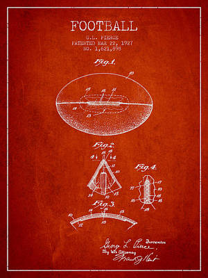1927 Football Patent - Red Art Print by Aged Pixel