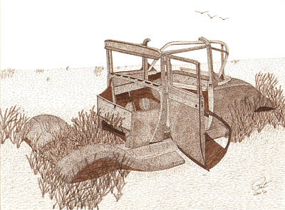 Sepia Ink Drawing - 1927 Ford Model T Roadster by Pat Price