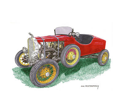 Car Art Drawing - 1927 Ford Model T Speedster by Jack Pumphrey