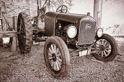 Aged Photograph - 1927 Ford Tractor by Marcia Colelli