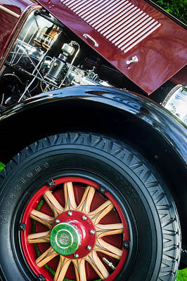 Photograph - 1927 Marmon E75 Speedster Wheel - Engine -0324c by Jill Reger