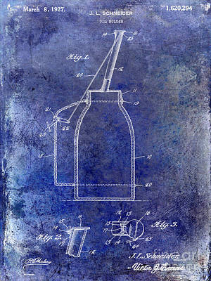 Vintage Gas Station Photograph - 1927 Oil Can Patent Blue by Jon Neidert