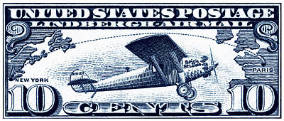 Vintage Aircraft Painting - 1927 Spirit Of St Louis Stamp by Historic Image
