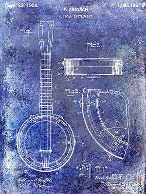 Gretsch Photograph - 1928 Banjo Patent Blue by Jon Neidert