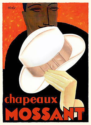 Dapper Wall Art - Digital Art - 1928 Chapeaux Mossant French Advertising Poster by Retro Graphics