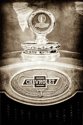 Art Print featuring the photograph 1928 Chevrolet 2 Door Coupe Hood Ornament Moto Meter -0789s by Jill Reger