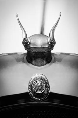 Photograph - 1928 Chrysler Model 72 Deluxe Roadster Hood Ornament - Emblem -0806bw by Jill Reger