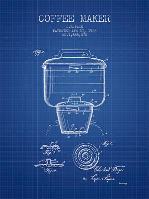 Coffee Maker Drawing - 1928 Coffee Maker Patent - Blueprint by Aged Pixel