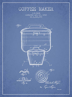 Coffee Maker Drawing - 1928 Coffee Maker Patent - Light Blue by Aged Pixel