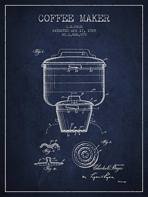 Coffee Maker Drawing - 1928 Coffee Maker Patent - Navy Blue by Aged Pixel
