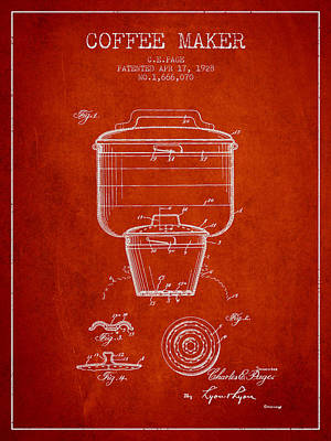 Coffee Maker Drawing - 1928 Coffee Maker Patent - Red by Aged Pixel