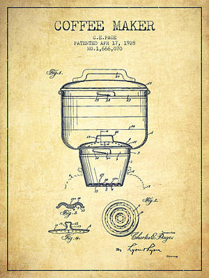 Coffee Maker Drawing - 1928 Coffee Maker Patent - Vintage by Aged Pixel