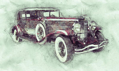 Transportation Mixed Media - 1928 Duesenberg Model J 1 - Automotive Art - Car Posters by Studio Grafiikka