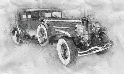 Transportation Mixed Media - 1928 Duesenberg Model J - Automotive Art - Car Posters by Studio Grafiikka