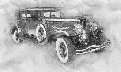 Mixed Media Royalty Free Images - 1928 Duesenberg Model J - Automotive Art - Car Posters Royalty-Free Image by Studio Grafiikka