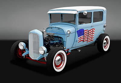 Photograph - 1928 Ford Model A Tudor Sedan  -  1928fd2drsedgry170289 by Frank J Benz