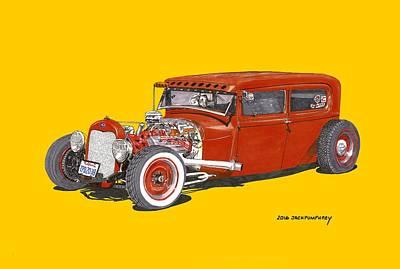Painting - 1928 Ford Tudor Jalopy Ratrod by Jack Pumphrey