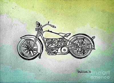 1928 Harley Davidson Motorcycle - Abstract Print by Scott D Van Osdol
