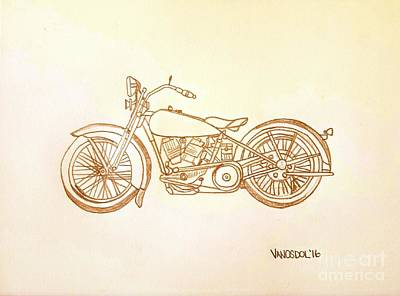 1928 Harley Davidson Motorcycle Graphite Pencil - Sepia Original