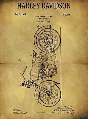 Harley Davidson Motorcycle Drawing - 1928 Harley Davidson Motorcycle Patent Original by Dan Sproul