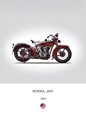 1928 Harley Model Jdh Art Print by Mark Rogan