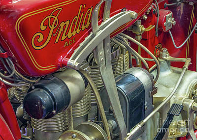 Indian Motorcycle Company Photograph - 1928 Indian Inline 4 Cylinder by Jerry Fornarotto