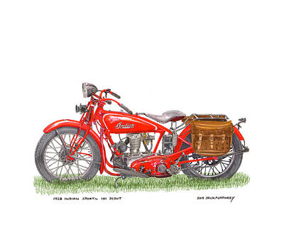 Painting - 1928 Indian Sport 101 Scout by Jack Pumphrey