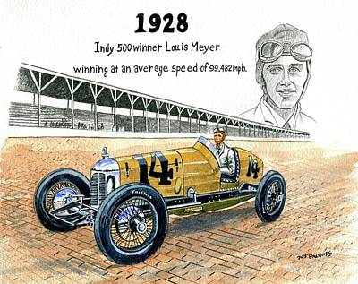 1928 Indy 500 Winner Louis Meyer Art Print by Jeff Blazejovsky