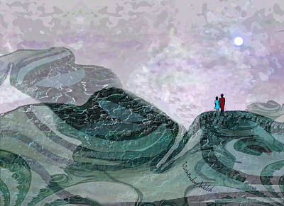 Digital Art - 1928 - Mountain Walk By Moonshine 2017 by Irmgard Schoendorf Welch