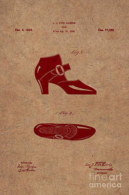 High Heels Drawing - 1928 Mary Jane Shoes Patent 2 by Nishanth Gopinathan