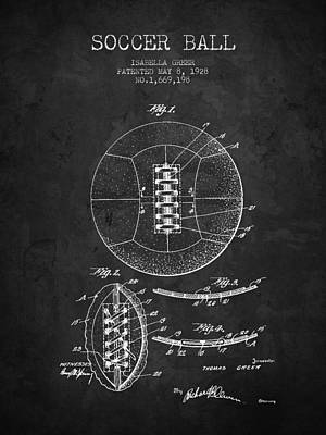 Football Royalty-Free and Rights-Managed Images - 1928 Soccer Ball Patent - Charcoal - NB by Aged Pixel