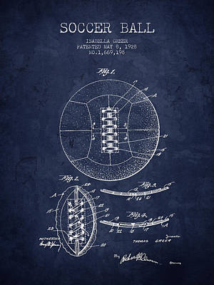 Soccer Drawing - 1928 Soccer Ball Patent - Navy Blue - Nb by Aged Pixel