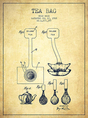 House Drawing - 1928 Tea Bag Patent 02 - Vintage by Aged Pixel