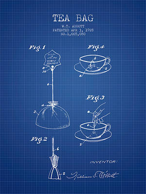 1928 Tea Bag Patent - Blueprint Art Print by Aged Pixel