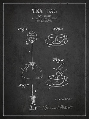 1928 Tea Bag Patent - Charcoal Art Print by Aged Pixel