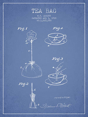 Tea Drawing - 1928 Tea Bag Patent - Light Blue by Aged Pixel