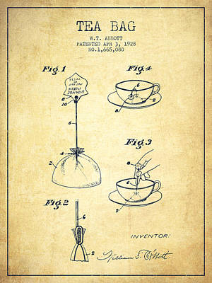 1928 Tea Bag Patent - Vintage Art Print by Aged Pixel