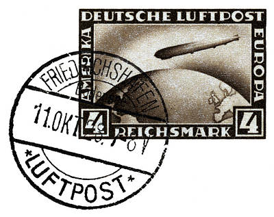 Painting - 1928 Zeppelin Airmail by Historic Image