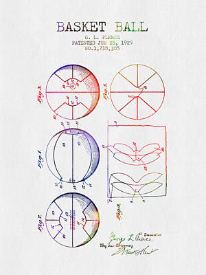 Basketball Hoop Drawing - 1929 Basket Ball Patent - Color by Aged Pixel