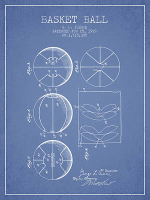 Basket Ball Drawing - 1929 Basket Ball Patent - Light Blue by Aged Pixel