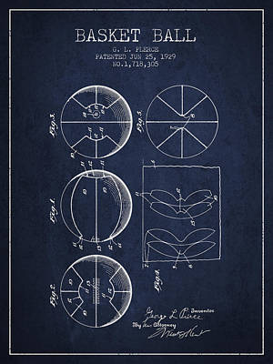 1929 Basket Ball Patent - Navy Blue Art Print by Aged Pixel